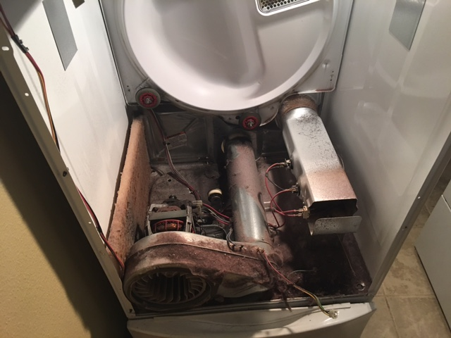 Dryer repairs due to excessive lint in the trap